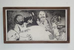 black and white print of people playing cards