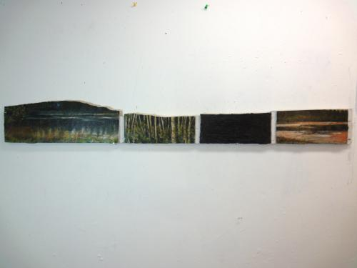 painted segmented landscape on thin piece of found wood
