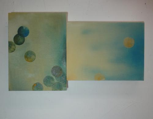 small abstract dyptych of softly painted dots