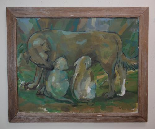 med sized framed painting of a mother dog and her pups in greens and blues