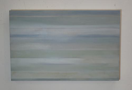 med sized abstract in grey stripes on canvas