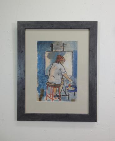 oil on wood of woman at an easel in blues