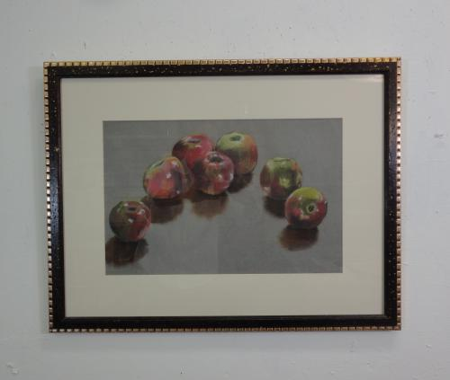 still life in pastel of apples on a table top
