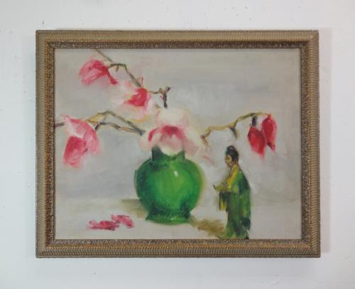 vase with dogwood blossoms and a statue in oil