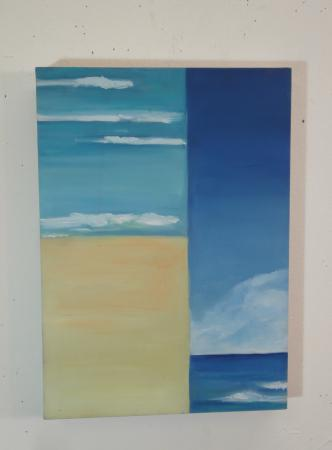 small oil painting of a beach, segmented
