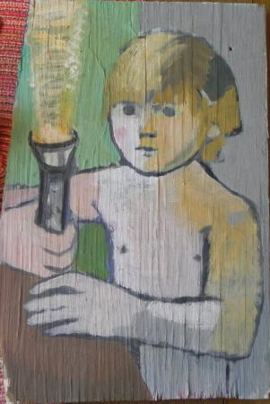 children,boys,found object,oil on wood,