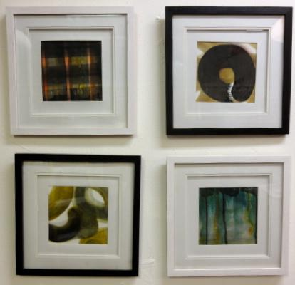4 monochromatic small abstracts in black and white frames