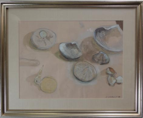 small to medium sized neutral toned watercolor of shells