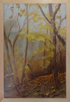 med sized oil painting of fall forest