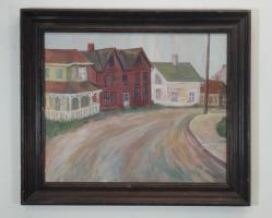 painting of a country road, framed