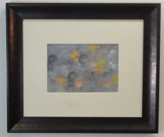 med framed abstract painting in greys