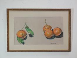 still life in pastel of oranges