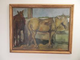 large oil painting of two horses tied tp a fence
