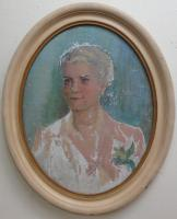 small to med sized oval painting in white frame of an older woman