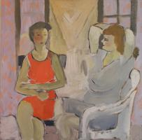 post impressionistic portrait of two ladies seated near a window