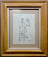 medium, framed ink drawing of a couple and a pram in the park