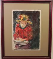 large watercolor of a little girl reading in a red sweater